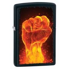 Зажигалка Zippo Fire Fist Black Matte 28308