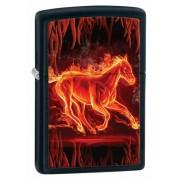 Зажигалка Zippo Horse Flaming Black Matte 28304