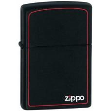 Зажигалка Zippo Black Matte With Logo & Border 218ZB