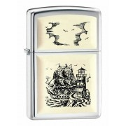 Зажигалка Zippo Scrimshaw Ship High Polish Chrome 359